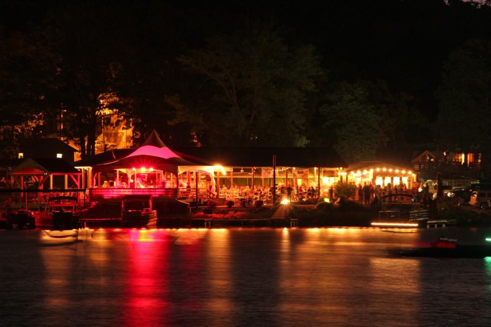 The Resort pavilion lit up during event